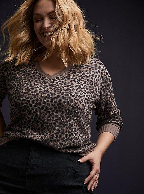 Super Soft Plush Hacci Leopard Top, , hi-res