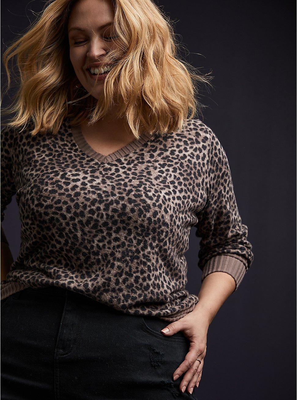 Super Soft Plush Hacci Leopard Top, LEOPARD, hi-res