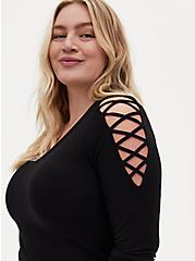 Plus Size Super Soft Black Lace-Up Sleeve Top, DEEP BLACK, alternate