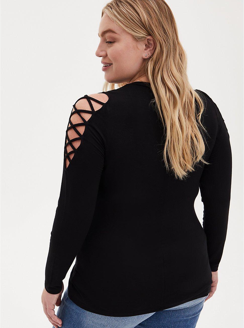 Plus Size Super Soft Black Lace-Up Sleeve Top, DEEP BLACK, hi-res