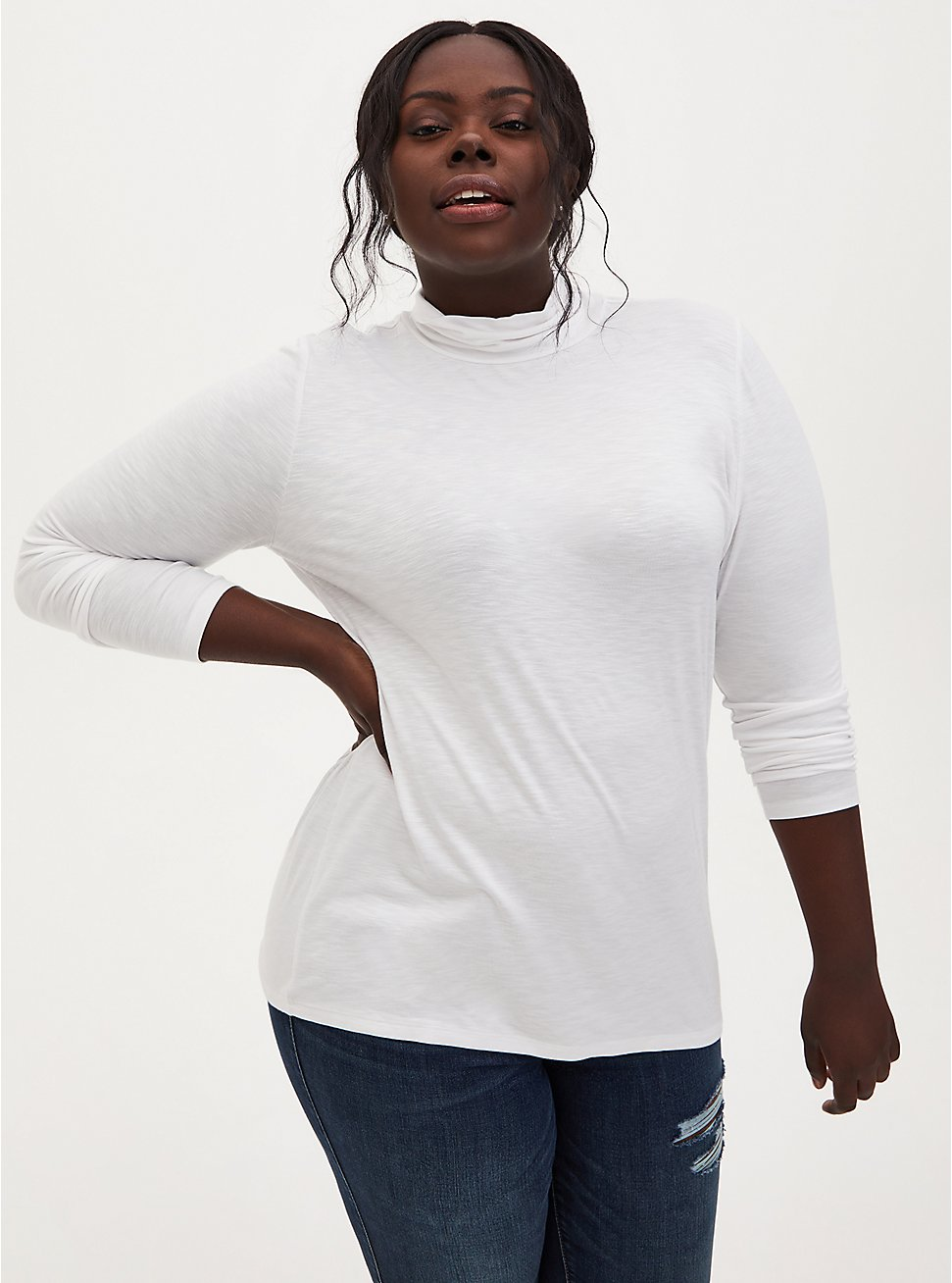 Super Soft Slub Knit White Turtleneck , BRIGHT WHITE, hi-res