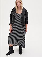 Super Soft Black Stripe Hi-Low Maxi Dress, STRIPE-BLACK WHITE, alternate