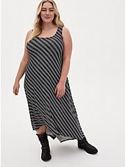 Super Soft Black Stripe Hi-Low Maxi Dress, STRIPE-BLACK WHITE, hi-res