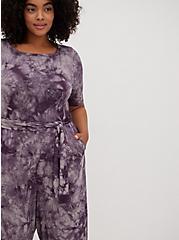 Plus Size Super Soft Black Tie-Dye Self-Tie Culotte Jumpsuit , DEEP BLACK TIE DYE, alternate