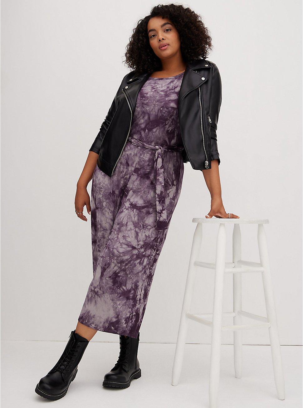 Plus Size Super Soft Black Tie-Dye Self-Tie Culotte Jumpsuit , DEEP BLACK TIE DYE, hi-res