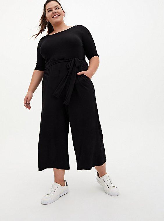 Super Soft Black Self-Tie Culotte Jumpsuit, DEEP BLACK, hi-res