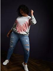 Multi Tie-Dye Fleece Sweatshirt, BRIGHT WHITE, alternate