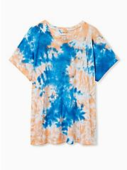 Relaxed Fit Crew Tee - Triblend Tie-Dye Peach & Blue, , hi-res