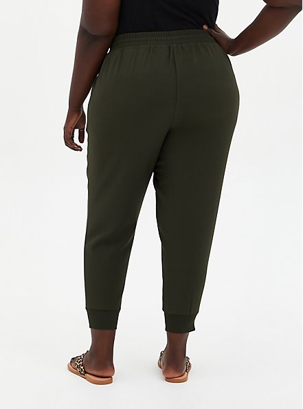 Plus Size Relaxed Fit Jogger - Dressy Twill Forest Green , ROSIN, alternate