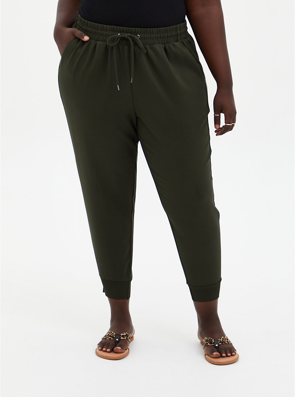 Plus Size Relaxed Fit Jogger - Dressy Twill Forest Green , ROSIN, hi-res