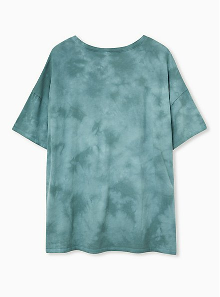 Plus Size Journey Teal Tie-Dye Cotton Slashed Tee, JUNEBUG, alternate