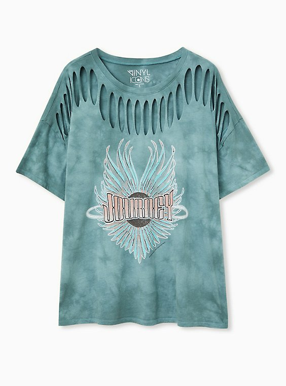 Journey Teal Tie-Dye Cotton Slashed Tee, , hi-res