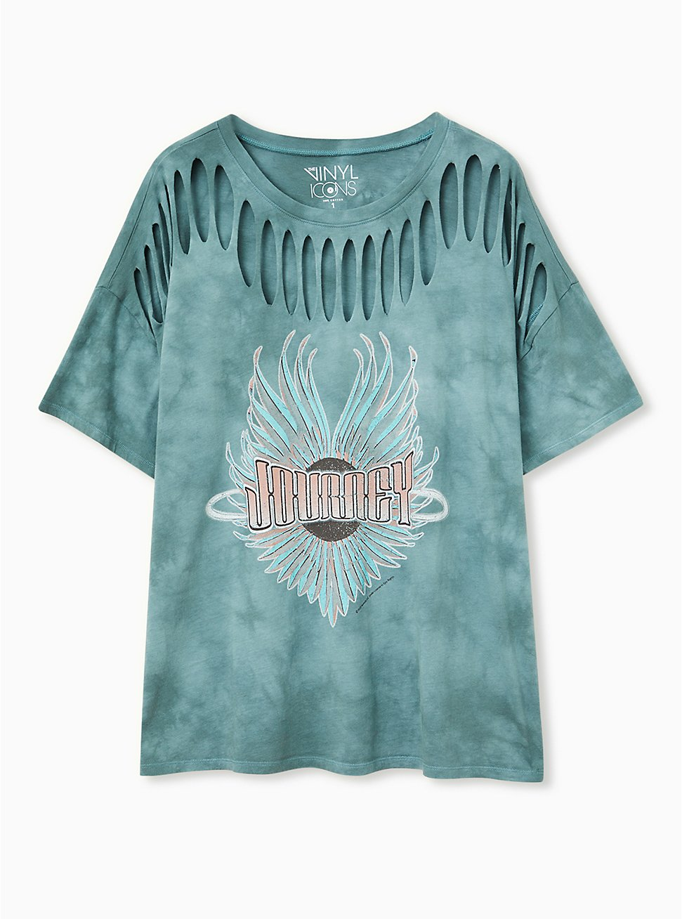 Journey Teal Tie-Dye Cotton Slashed Tee, JUNEBUG, hi-res