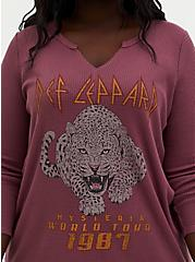 Def Leppard Burgundy Purple Waffle Knit Long Sleeve Tee, WINETASTING, alternate