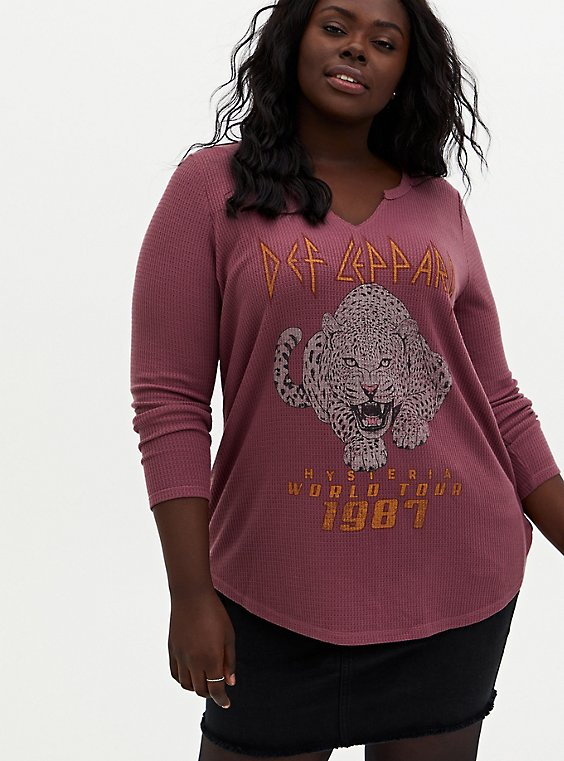 Def Leppard Burgundy Purple Waffle Knit Long Sleeve Tee, WINETASTING, hi-res