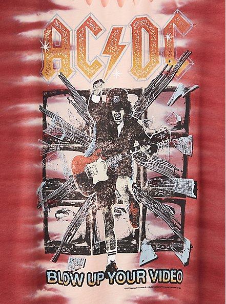 AC/DC Slashed Tee - Tie-Dye Red, RED, alternate
