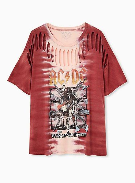 AC/DC Slashed Tee - Tie-Dye Red, RED, hi-res