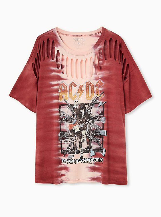 AC/DC Slashed Tee - Tie-Dye Red, RED, hi-res