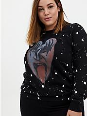 Kiss Black Splatter Fleece Sweatshirt , DEEP BLACK, hi-res