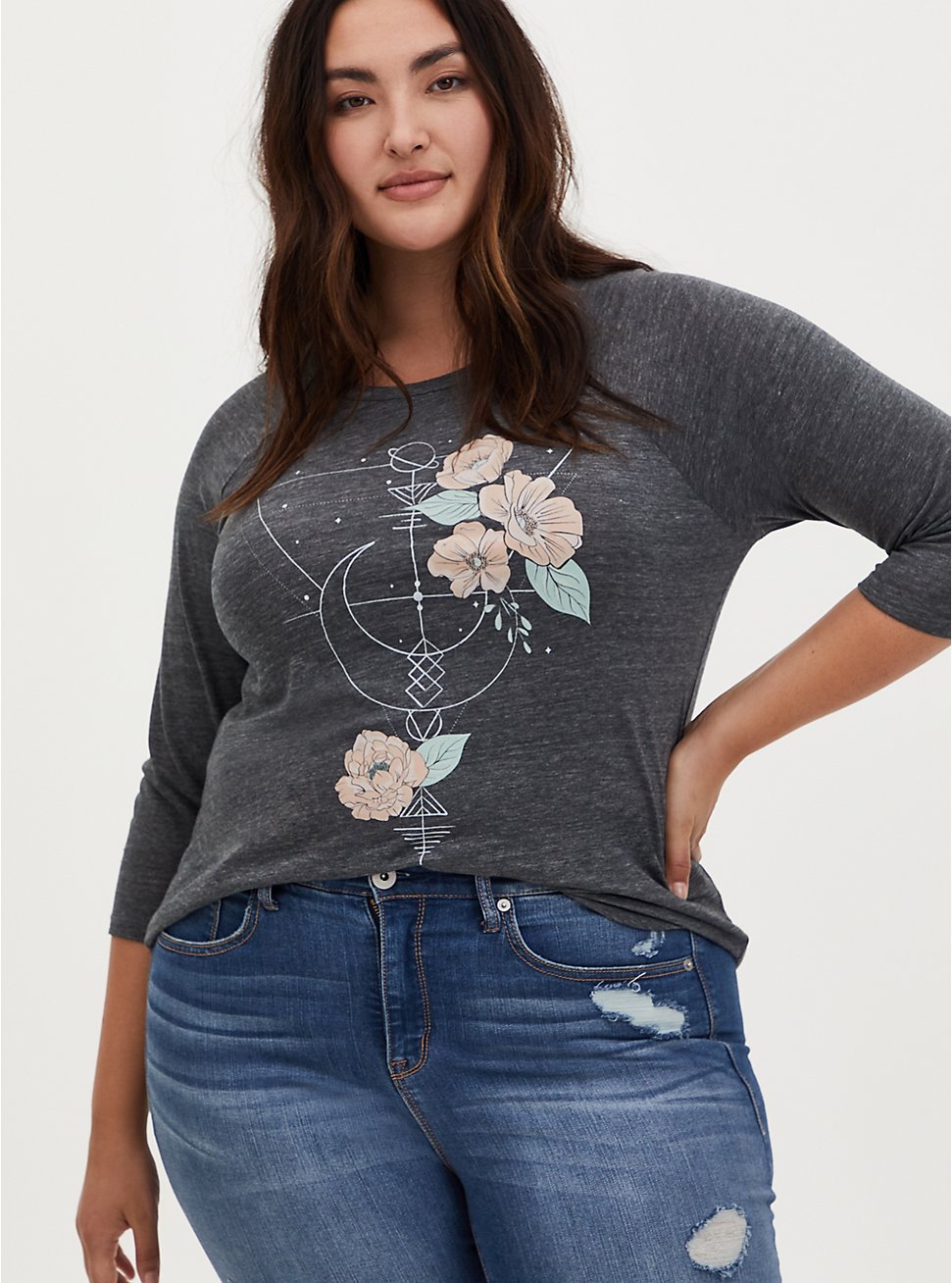 Classic Fit Graphic Tee - Celestial Floral Charcoal Grey , DEEP BLACK, hi-res