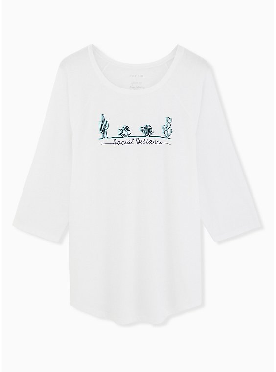 Social Distance Cacti Classic Fit Raglan Tee - Triblend White, BRIGHT WHITE, hi-res