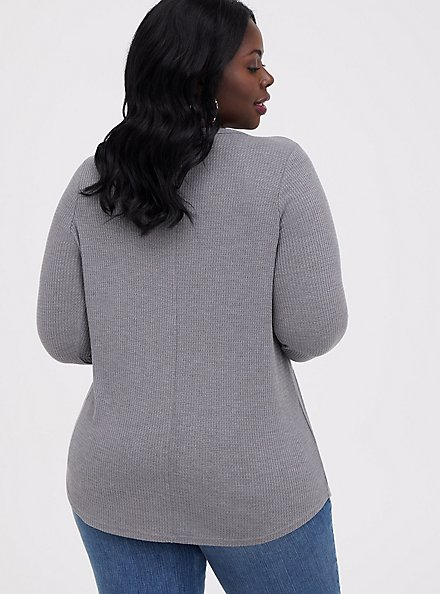 Stevie Nicks Grey Waffle Knit Long Sleeve Tee, MEDIUM HEATHER GREY, alternate