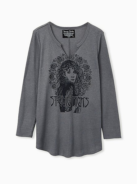 Stevie Nicks Grey Waffle Knit Long Sleeve Tee, MEDIUM HEATHER GREY, hi-res