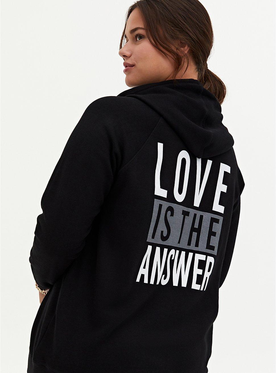 Love Is The Answer Black Fleece Hoodie, DEEP BLACK, hi-res