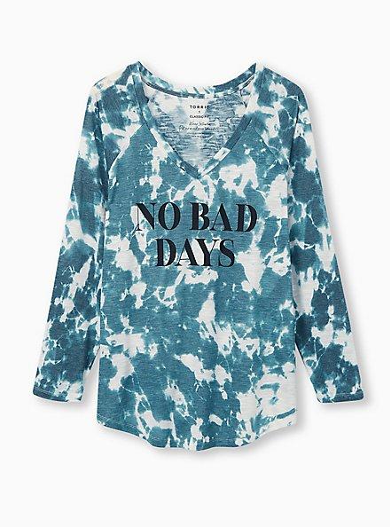 Plus Size No Bad Days Classic Fit V-Neck Tee - Teal Tie-Dye , JUNEBUG, hi-res