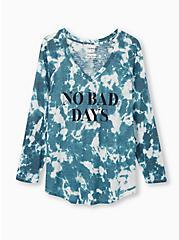 No Bad Days Classic Fit V-Neck Tee - Teal Tie-Dye , JUNEBUG, hi-res