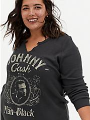 Johnny Cash Man In Black Black Waffle Knit Long Long Tee, DEEP BLACK, hi-res