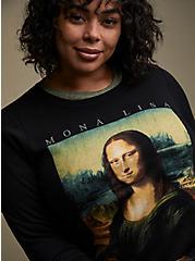 Plus Size Mona Lisa Black Sweatshirt , DEEP BLACK, alternate