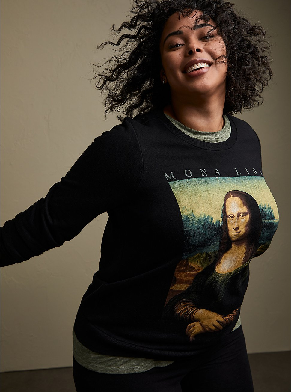 Plus Size Mona Lisa Black Sweatshirt , DEEP BLACK, hi-res