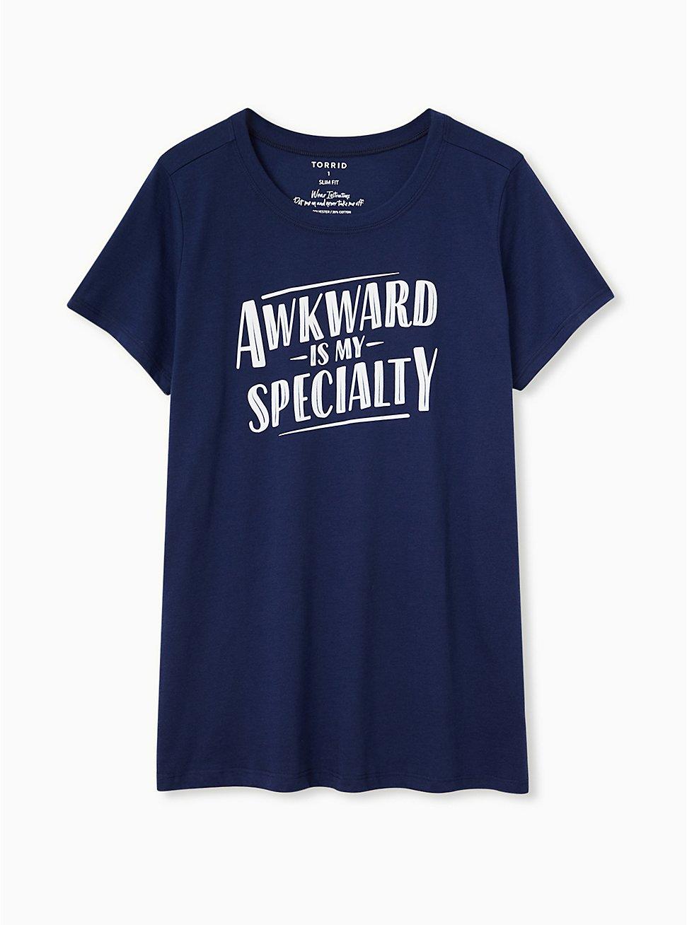 Awkward Is My Specialty Slim Fit Crew Tee - Navy, PEACOAT, hi-res