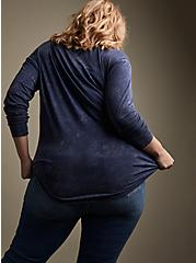Plus Size Super Soft Love Is Everywhere Navy Mineral Wash Tie-Front Tee, PEACOAT, alternate