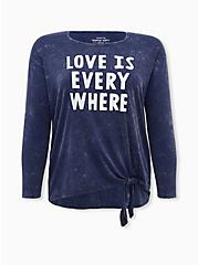 Plus Size Super Soft Love Is Everywhere Navy Mineral Wash Tie-Front Tee, PEACOAT, hi-res