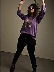 Plus Size Lavender Old English Love Burnout Sweatshirt, LAVENDER, alternate