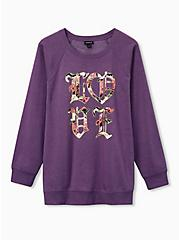 Plus Size Lavender Old English Love Burnout Sweatshirt, LAVENDER, hi-res