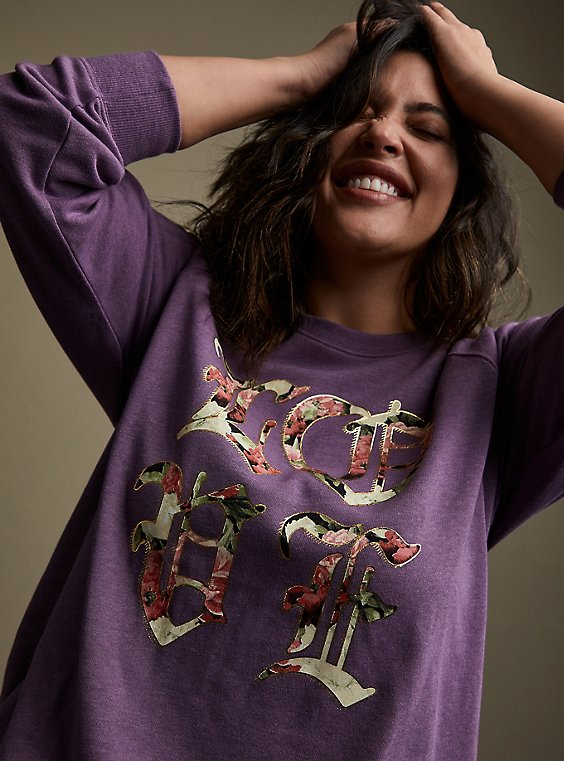Plus Size Lavender Old English Love Burnout Sweatshirt, , hi-res