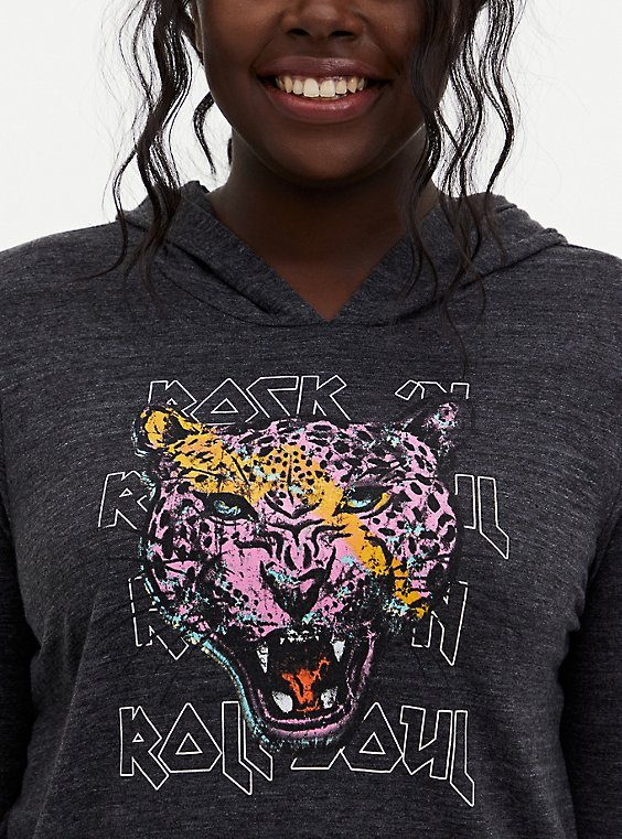 Cheetah Black Vintage Burnout Hoodie, , hi-res