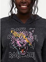 Cheetah Black Vintage Burnout Hoodie, DEEP BLACK, hi-res