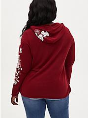 Skeleton Rose Dark Red Vintage Burnout Hoodie, RED, alternate