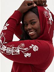 Skeleton Rose Dark Red Vintage Burnout Hoodie, RED, hi-res