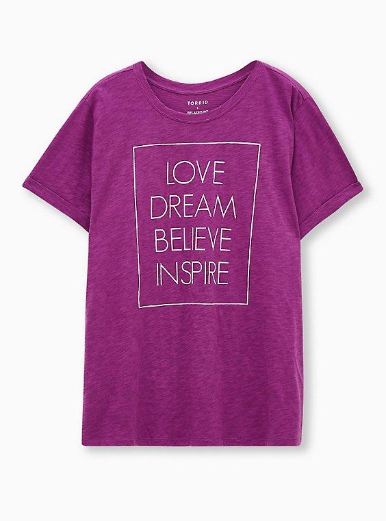 Relaxed Tee - Heritage Slub Love Inspire Berry Pink, , hi-res