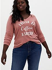 Fueled By Caffeine Dusty Coral V-Neck Tee, DESERT SAND, hi-res