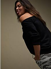 MTV Leopard & Black Terry Off Shoulder Sweatshirt, DEEP BLACK, alternate