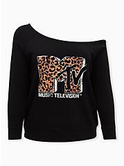 MTV Leopard & Black Terry Off Shoulder Sweatshirt, DEEP BLACK, hi-res