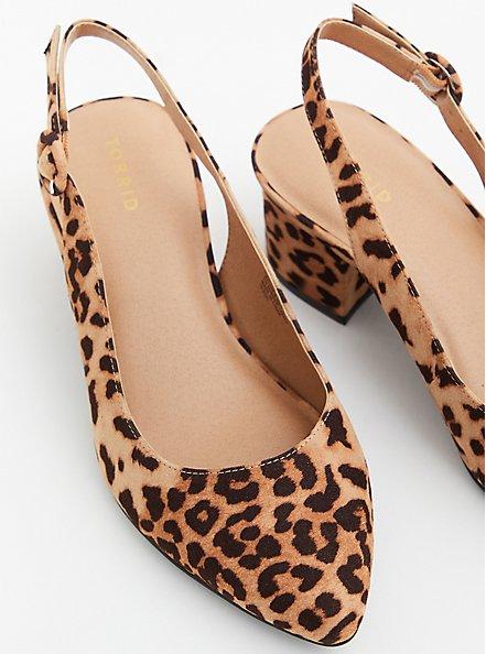 Leopard Faux Suede Pointed Toe Slingback Pump (WW), ANIMAL, alternate