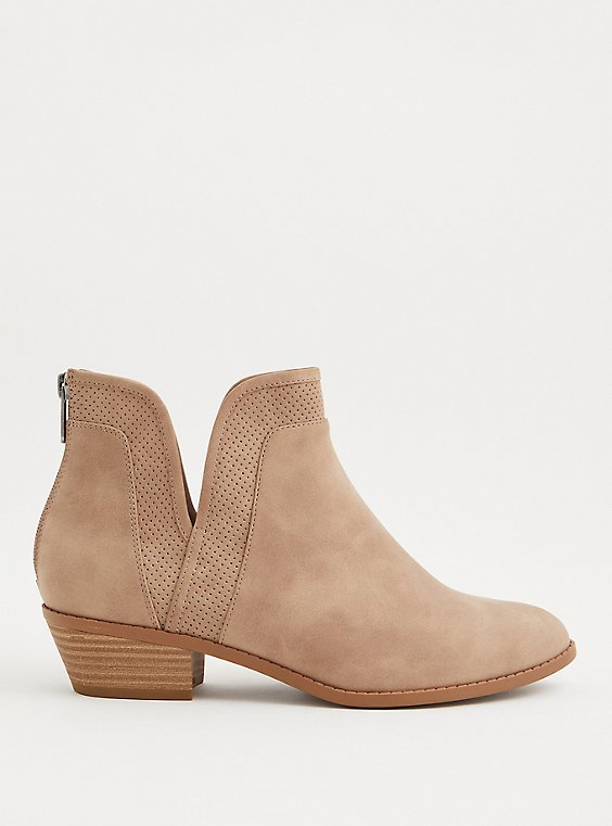 Taupe Faux Suede Perforated V-Cut Bootie (WW), TAUPE, hi-res
