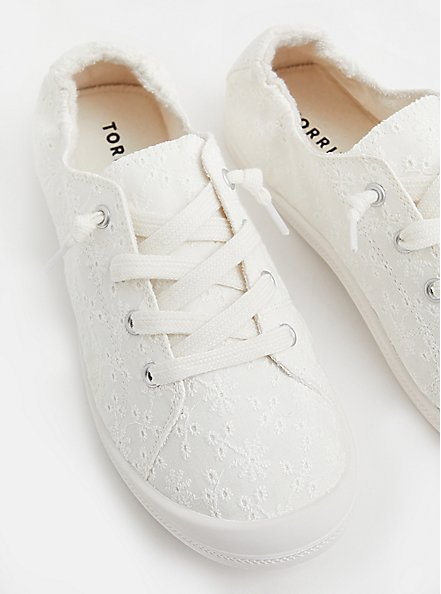 Riley - White Ruched Sneaker (WW), WHITE, hi-res